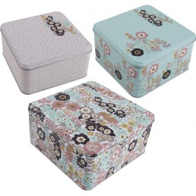 Katie Alice Pretty Retro Set Of 3 Square Cake Tins Kitchenware